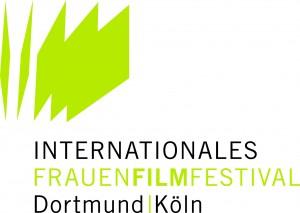 Weißer Hintergrund mit 5 grünen *Seiten Papier* die auffächern, darunter in schwarzer und grüner Schrift: Internationales Frauenfilmfestival Dortmund | Köln