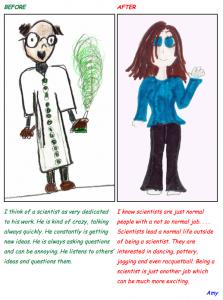 Von einem Kind gezeichnete Bilder - Links das *vorher* Bild eines Mannes in weißem Laborkittel mit schwarzer Brille und Erlenmeyerkolben mit giftgrüner in der Hand | Rechts das *nachher* Bild einer Frau in blauem Pulli und schwarzer Hose mit schulterlangen braunen Haaren