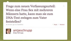 Grüner Hintergrund mit Tweet: Frage zum neuen Verfassungsurteil: Wenn eine Frau Sex mit mehreren Männern hatte, kann man sie zum DNA-Text zwingen zum Vater feststellen? - 36 minutes ago via TweetDeck - Reply Retweet - antjeschrupp - Antje Schrupp