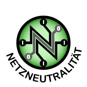 3 gestapelte N deren Enden weiterlaufen und in Kreisen mit 0 und 1 enden vor grünem Hintergrund. Darunter die Schrift: Netzneutralität