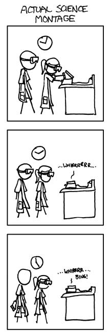 ACTUAL SCIENCE MONTAGE: 3 untereinander angeordnete Panels mit einem Wissenschaftler und einer Wissenschaftlerin in Laborkittel und Brille, die ein Gerät anstellen und dann stundenlang davor warten, während es WHIRR macht.