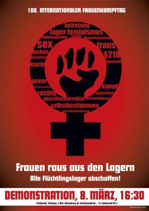Rotes Plakat mit einem schwarzen Venusspiegel, in der Mitte eine gereckte Faus, darunter die Aufschrift: Frauen raus aus den Lagern. Alle Flüchtlingslager abschaffen! Demonstration, 8. März 16:30