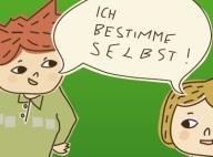 Grüner Hintergrund mit 2 Comicfiguren, darüber eine gemeinsame Sprechblase: Ich bestimme selbst
