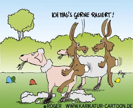 Comicbild von Roger. Zwei Hasen besteigen jeweils von hinten ein Schaf. Die Schafe essen weiter Gras. Das vordere Schaf ist frisch geschoren, das Fell liegt noch auf dem Gras. Der Hase kommentiert: ICH MAG'S GERN RASIERT!