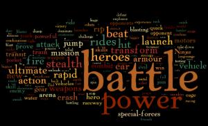 Schwarzer Hintergrund mit bunten Wörtern, am größten sind: battle, power, heroes, stealth, beat