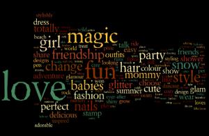 Schwarzer Hintergrund mit bunten Wörtern, am größten sind: love, magic, fun, girl