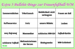 Grüner Hintergrund mit einem 4x4 Bingofeld, als Überschrift: Extra 3 Bullshit-Bingo zur Frauenfußball WM (in rosa geschwungener Schrift)