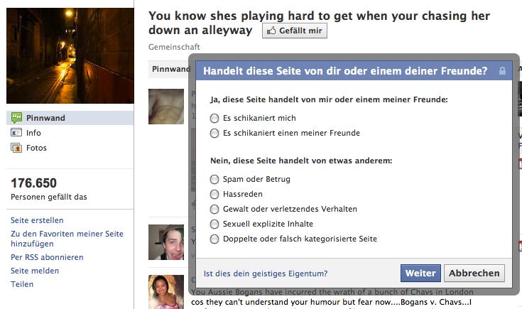 Screenshot der Möglichkeiten, eine Seite bei Facebook zu melden