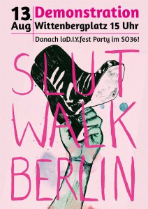 Plakat des Slutwalk Berlin - eine Hand hält einen Schuh hoch