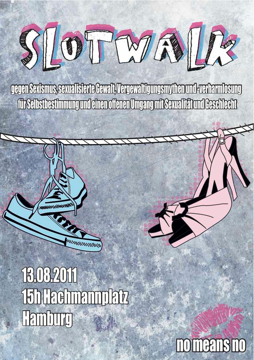 Plakat des Slutwalk Hamburg - blaue Turnschuhe und rosa High Heels an einer Wäscheleine