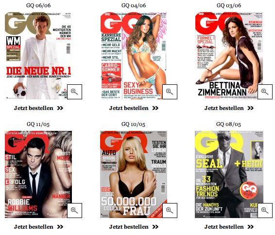 Zu sehen sind sechs Titelbilder von 2005 bis 2006 der Zeitschrift GQ