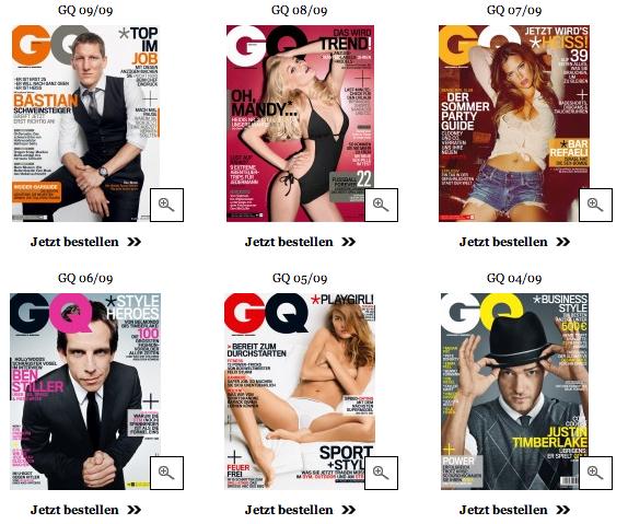 Zu sehen sind sechs Titelbilder von 2009 der Zeitschrift GQ
