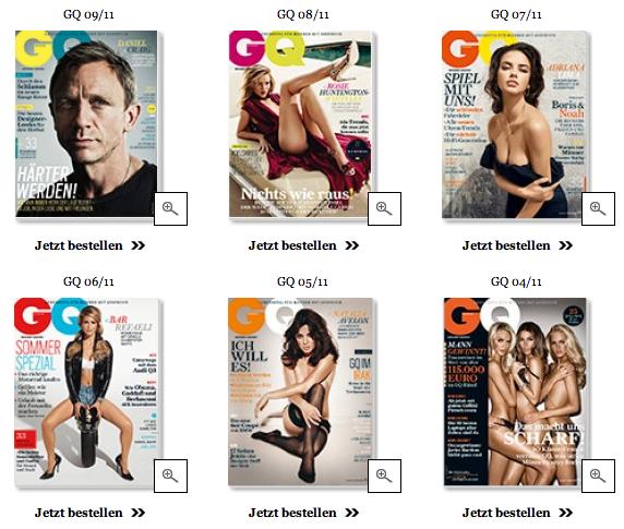 Zu sehen sind sechs Titelbilder von 2011 der Zeitschrift GQ