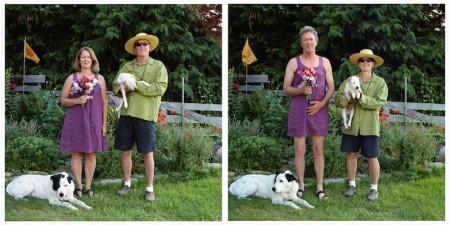 Zwei Bilder eines eines Paares. Im ersten Bild trägt eine ältere Frau ein lila Somerkleid und rote Blumen und ein älterer Mann eine kurze dunkle Hose, ein grünes Shirt, Sonnenbrille und Strohhut. Im zweiten Bild haben sie die Kleidung getauscht.