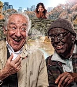 Im New Yorker Central Park sitzen ein weißer alter Mann mit Joint in der Hand (Dieter Hallervorden) und ein weißer Mann mit schwarz angemalten Gesicht, im Hintergrund schaut eine junge weiße Frau zu