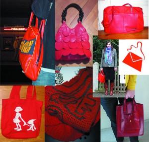 Collage an roten Taschen