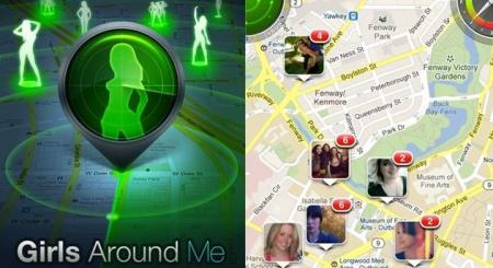 """Screen Shot der iPhone-App """"Girls Around Me"""": links eine grün-gefärbte Karte mit Silhouetten schlanker Frauen, rechts ein Google Maps-Ausschnitt mit Bildern junger Frauen darauf verteilt."""