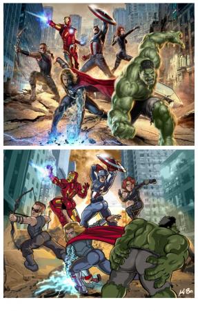Oben das offzielle Plakat von The Avengers, unten die Parodie in der alle Superhelden ihren Hintern präsentieren