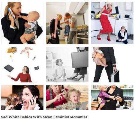 Neun Bilder mit weinenden Babies und überforderten weißen Müttern in schicker Arbeitskleidung.
