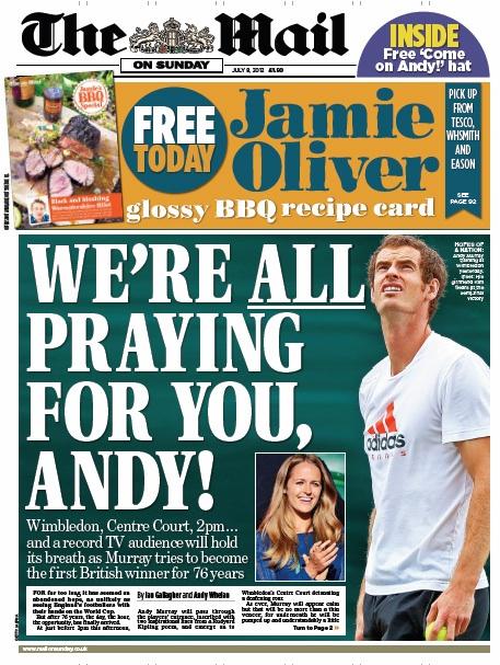 Titelseite The Mail On Sunday
