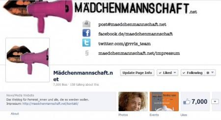 Screenshot der Mädchenmannschaft-FB-Seite mit genau 7000 Fans angezeigt