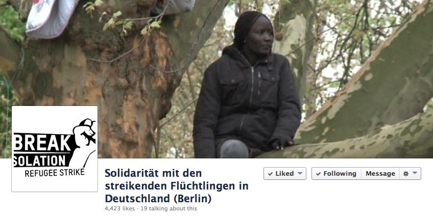 """Screenshot von der FB-Seite """"Solidarität mit den streikenden Flüchtlingen in Deutschland (Berlin)"""""""