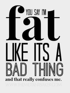 """""""Du nennst mich fett, als wäre dies etwas schlechtes. Und das irritiert mich wirklich."""" - themilitantbaker.com"""