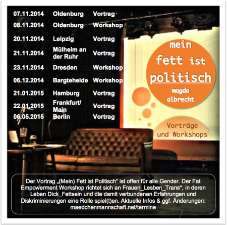 Flyer – Mein Fett ist politisch (zur Großansicht: Klick!)