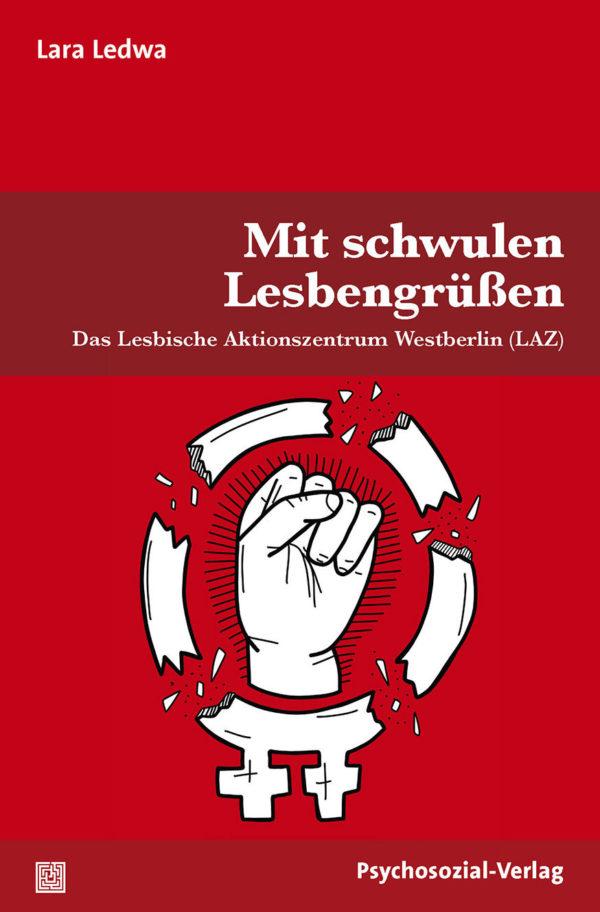 """Auf dem Cover ist das Venussymbol in lesbischer Variante mit einer kämpferischen Faust zu sehen, der Kreis wird gesprengt. Das Symbol ist weiß auf rotem Untergrund. Als Untertitel wird der Schriftzug """"Das Lesbische Aktionszentrum Westberlin (LAZ)"""" verwendet"""